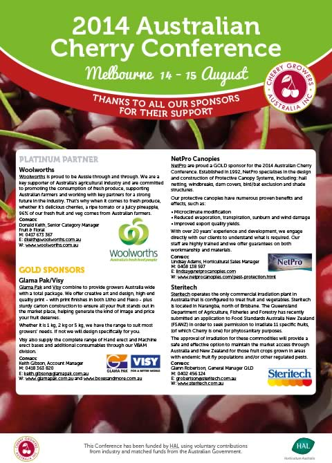2014 Australian Cherry Industry Conference sponsors
